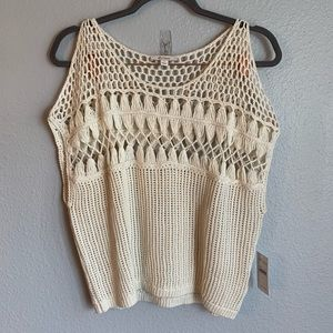 ella moss Beige Crochet Knit Cold Shoulder Top